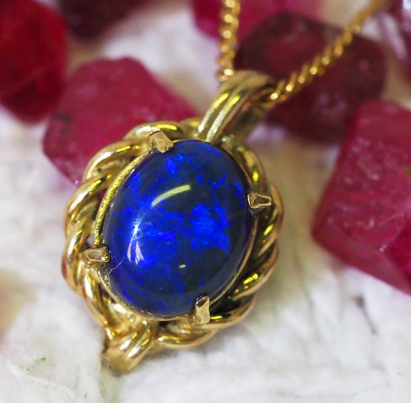 Solid Black Opal Set in 18K Yellow Gold Pendant SU660