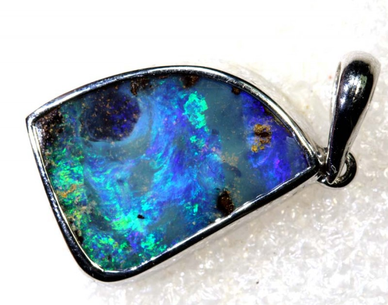21.1CTS BOULDER OPAL STERLING SILVER PENDANT OF-2297