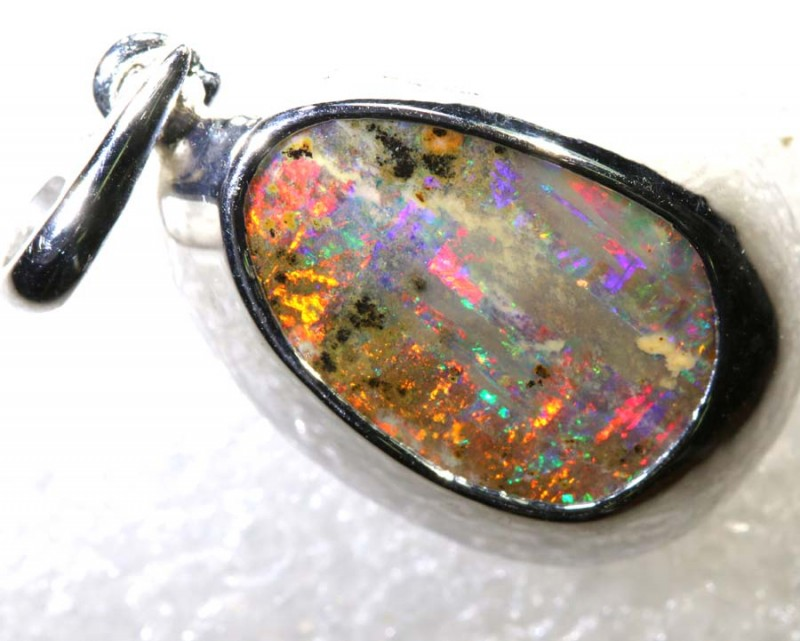 16.4CTS BOULDER OPAL STERLING SILVER PENDANT OF-2330