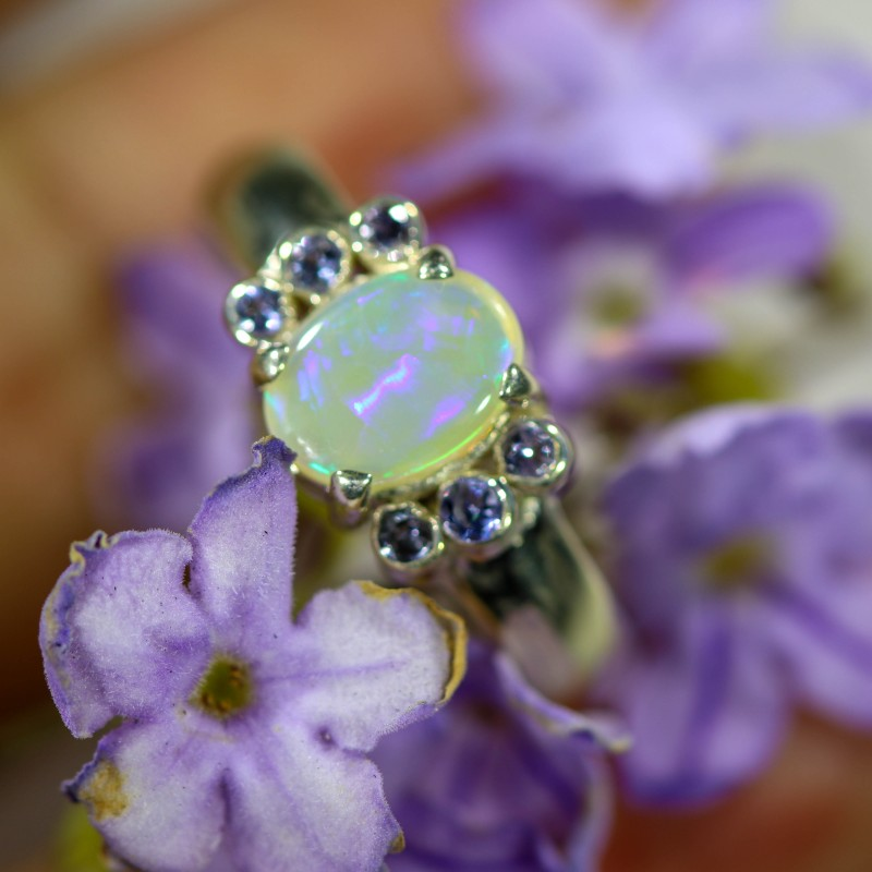 7 SIZE CRYSTAL OPAL WITH TANZANITE SILVER RING [SOJ6347]