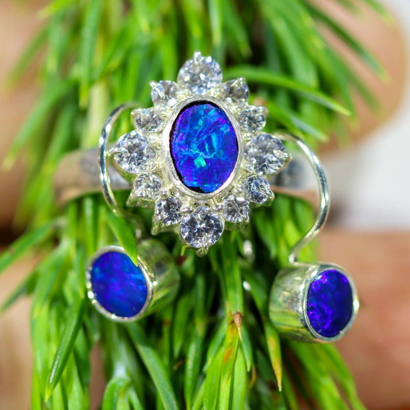 24.00 CTS OPAL SET-RING AND EARRINGS-SILVER -IDEAL GIFT. [SOJ6363]