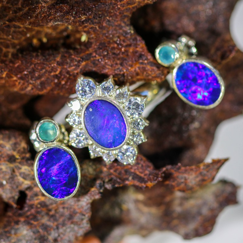 29.20 CTS OPAL SET-RING AND EARRINGS-SILVER -IDEAL GIFT. [SOJ6371]