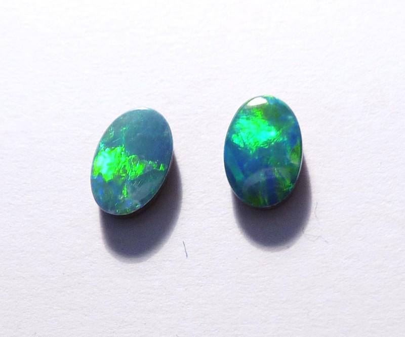 Beautiful pair of Australian Opal Doublets 6x4mm Gem Grade (3061)