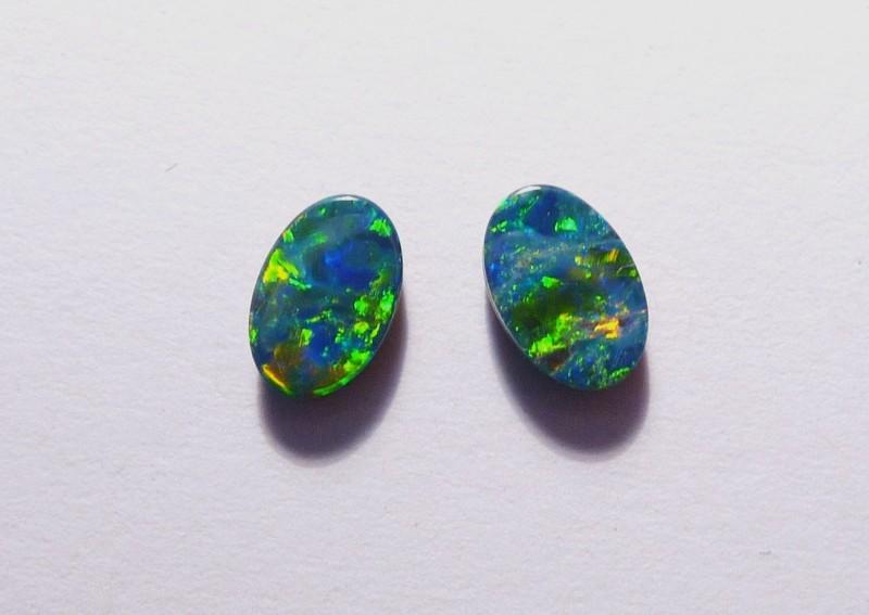 Beautiful pair of Australian Opal Doublets 6x4mm Gem Grade (3062)