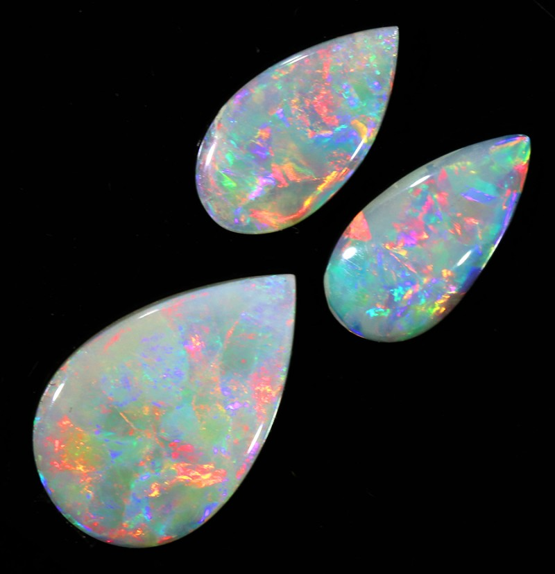 3.38Cts Solid fire opal Coober pedy  opal 3 Pc sets SU1058