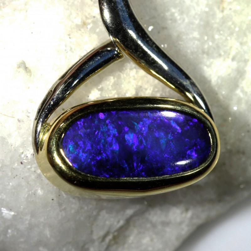 ALLURING RICH DEEP BLUE FIRE BLACK OPAL PENDANT 4 CT SCO2008