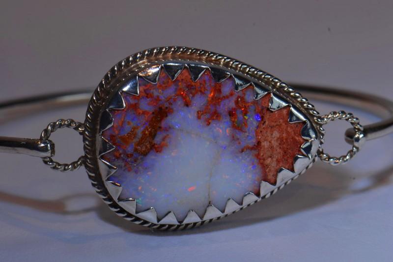 67ctw Bracelet Mexican Matrix Opal .925 Sterling  Silver Cuff