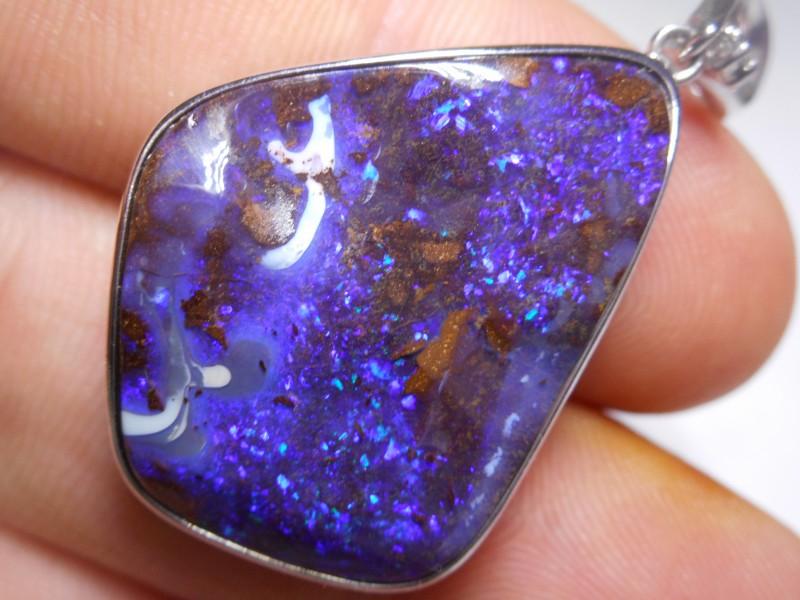 36.3ct Quality Deep Blue Boulder Opal Polished Stone Pendant (Sterling, mar