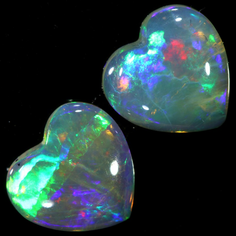 1.96 CTS HEART SHAPE  CRYSTAL OPAL PAIR-COOBER PEDY[SEDA904]