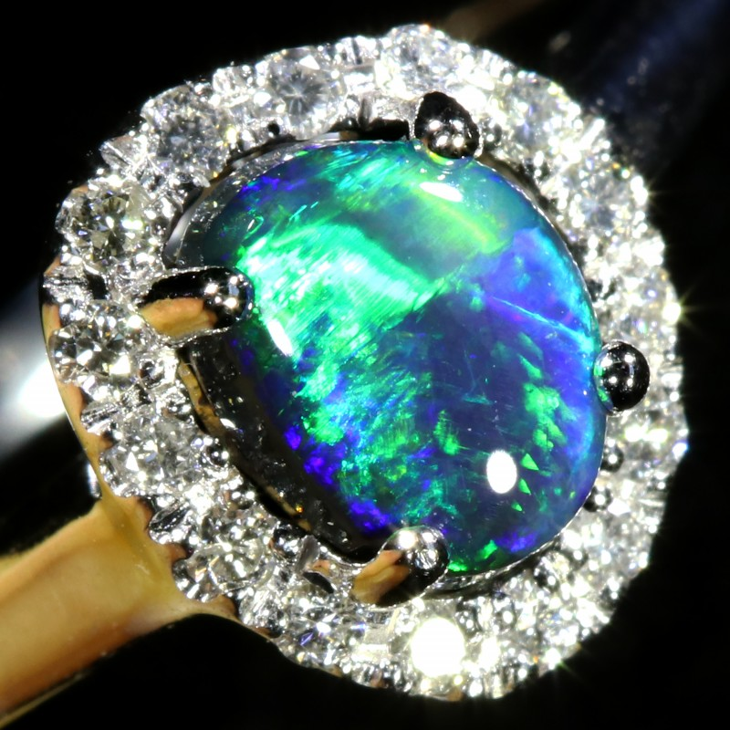 5 SIZE BLACK OPAL ENGAGEMENT RING 14 K RING [SOJ5]SH