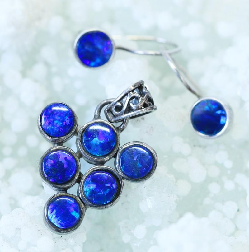 Cute Doublet opal set in Silver Pendant and Earrings   SU1207