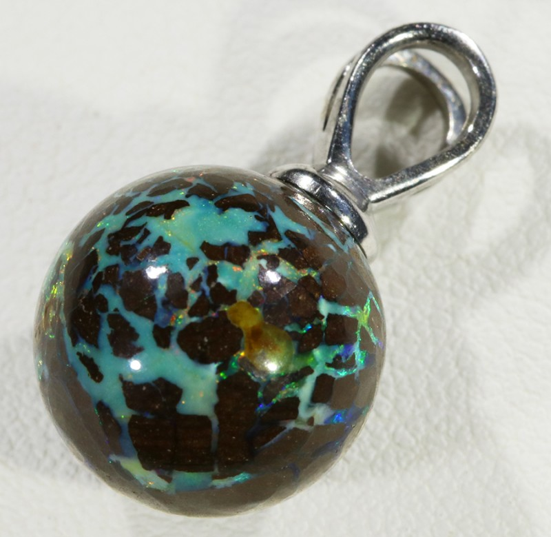 Boulder Opal Bead Silver Bail stamped 925 -- S37