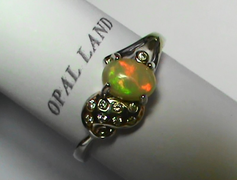 13.70 ct Stunning 925 Silver Bright Multi Color Welo Ring