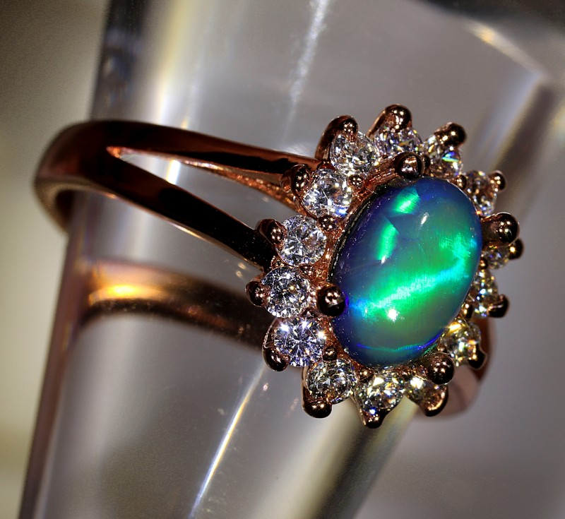 1.25ct 8x5mm Solid Crystal Opal Gold Plated CZ Ring Size6½ [AC-003]