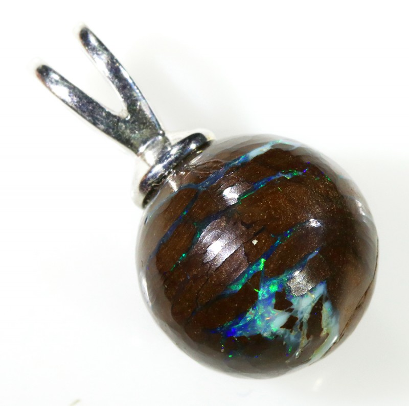 Boulder Opal Bead Silver Bail stamped 925 -- S73