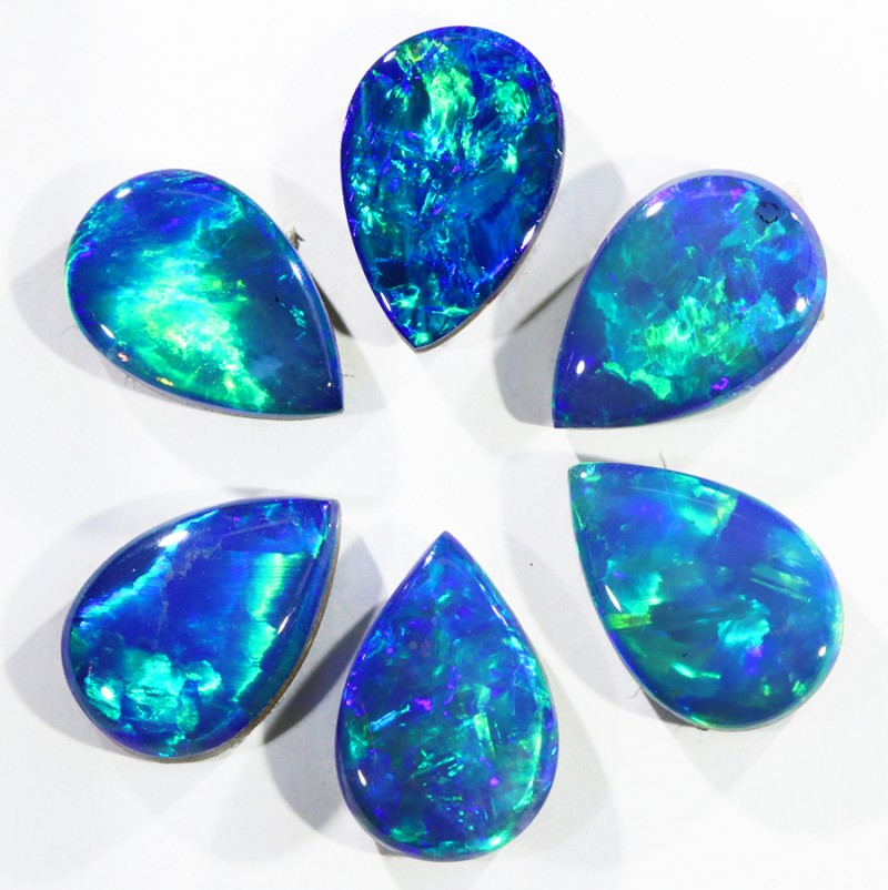 5.46CTS 6pcs OPAL DOUBLET SKIN SHELL GREAT COLOUR PLAY--S102