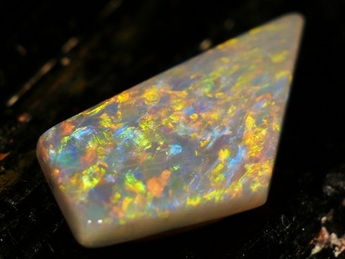 7.04 ct Certified Mintabie Multicolor Opal  - Free Insured Shipping