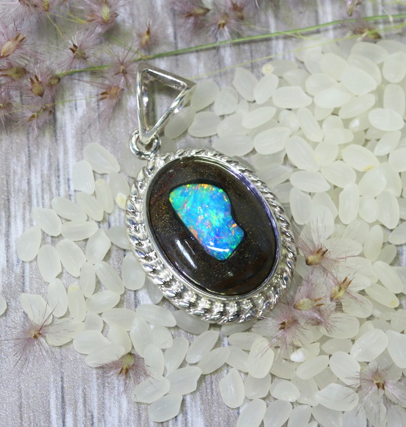 OPAL ART INLAY SILVER PENDANT NEW LARGE  L2407