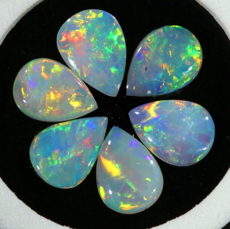 1.81Cts Set  6 matching  Fire opals  Flower pattern SU1280