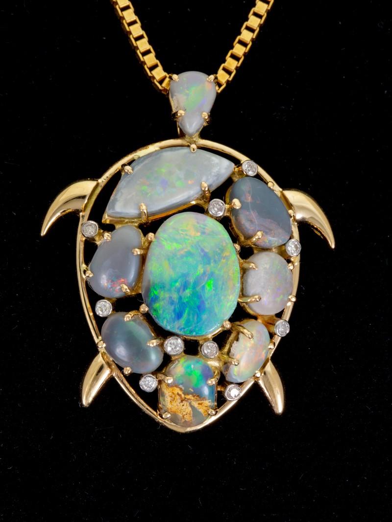 Turtle Shaped Semi-Black Solid Opal Pendant 6.18ct (LP155)