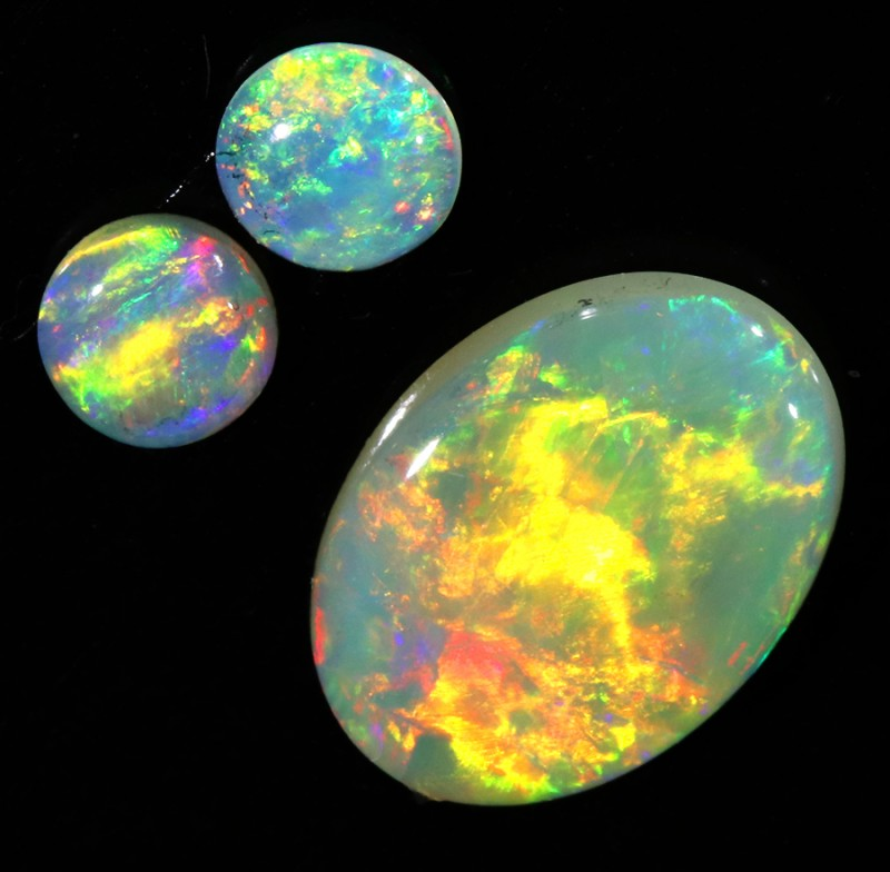 1.56CTS SET 3 COOBER PEDY OPAL PARCELS GREAT COLOUR PLAY   S171
