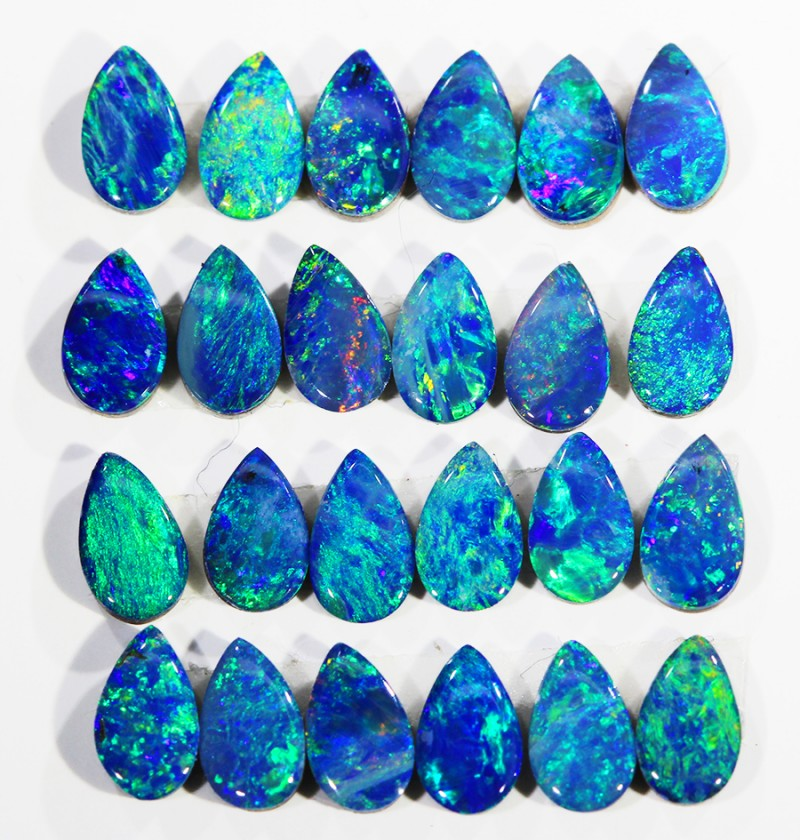 3.82CTS  24PIECES CALIBRATED OPAL DOUBLET PARCEL GREAT COLOR PLAY -S195