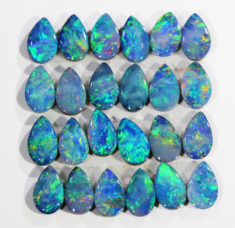 3.11CTS 24 PIECES CALIBRATED OPAL DOUBLET PARCEL GREAT COLOR PLAY -S197