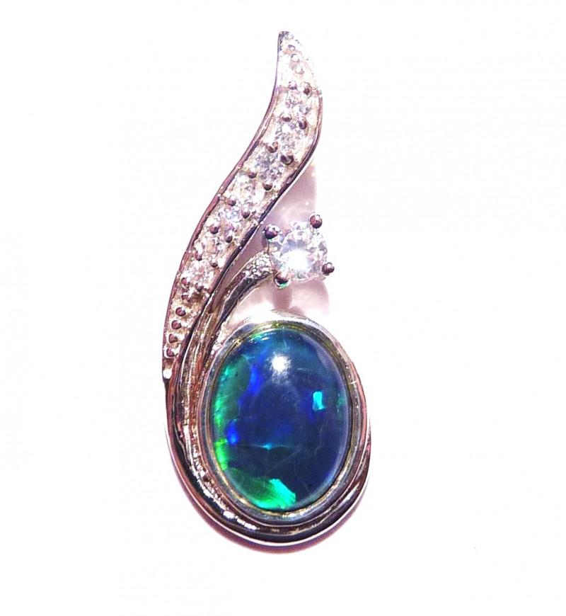 Australian Gem Grade Triplet Opal and Sterling Silver Pendant Charm