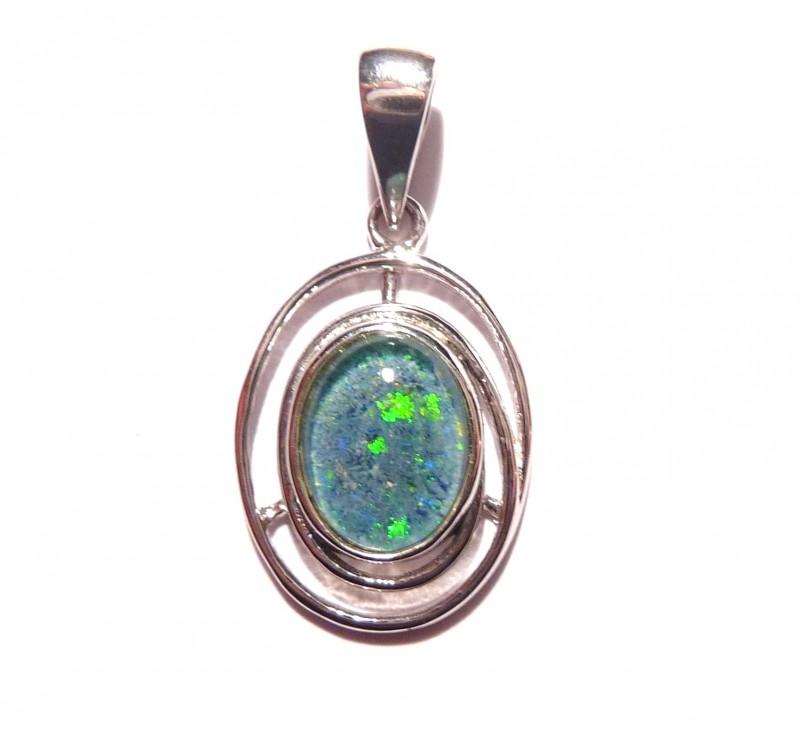 Pretty Australian Triplet Opal and Sterling Silver Pendant (1087e