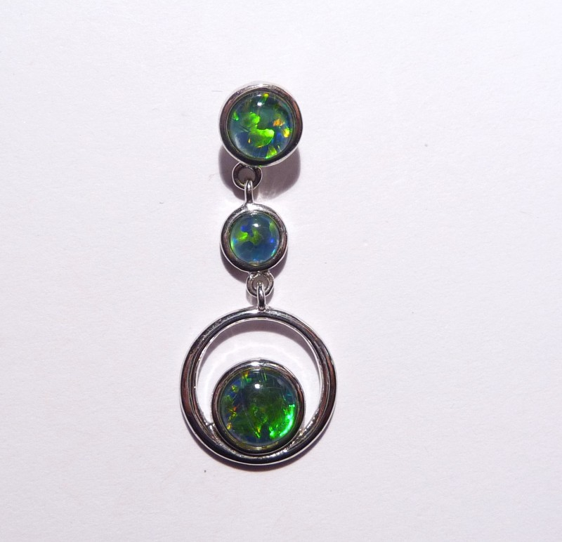Pretty Australian Gem Grade Triplet Opal and Sterling Silver P
