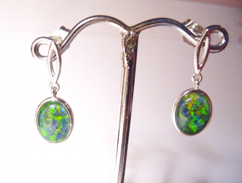 Bright Australian Triplet Opal and Sterling Silver Earrings
