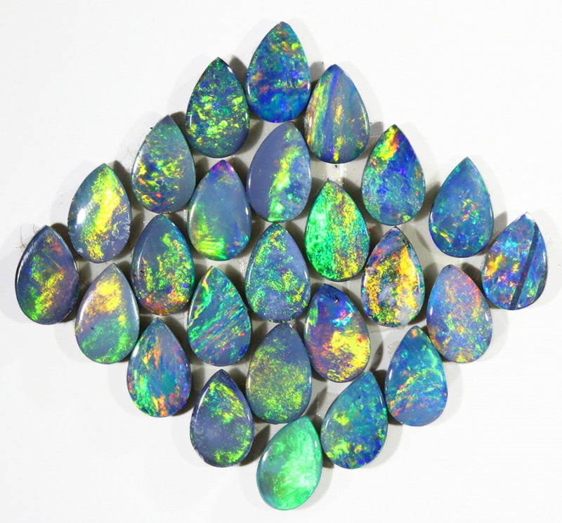 5.97CTS 25PIECES CALIBRATED OPAL DOUBLET PARCEL GREAT COLOR PLAY -S219