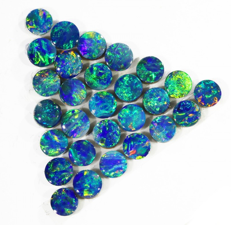 2.77CTS 28PIECES CALIBRATED OPAL DOUBLET PARCEL GREAT COLOR PLAY -S222