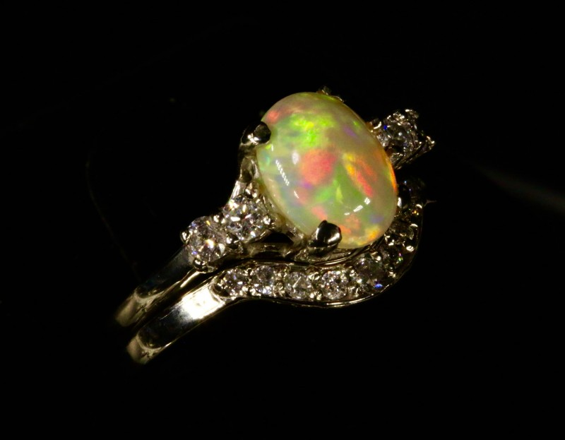 ... Beautiful Ethiopian Opal Engagement Ring Set With Matching Diamond  Wedding Band. Created By Opal Ring ...