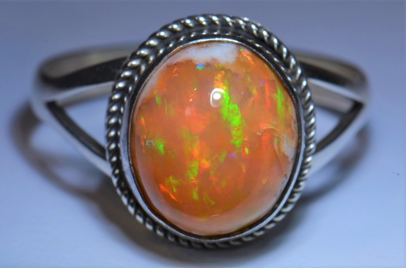 11.5SZ  Mexican Matrix Opal Sterling Silver Ring No Reserve Auction