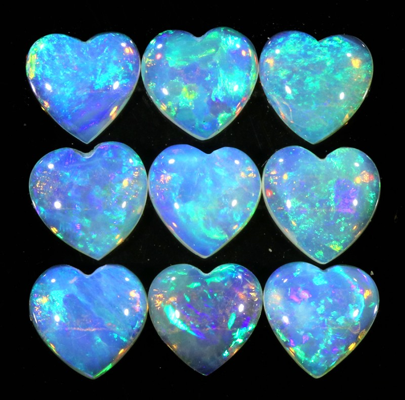 2.76Cts 9pcs matching Crystal Fire opals Calibrated SU1373