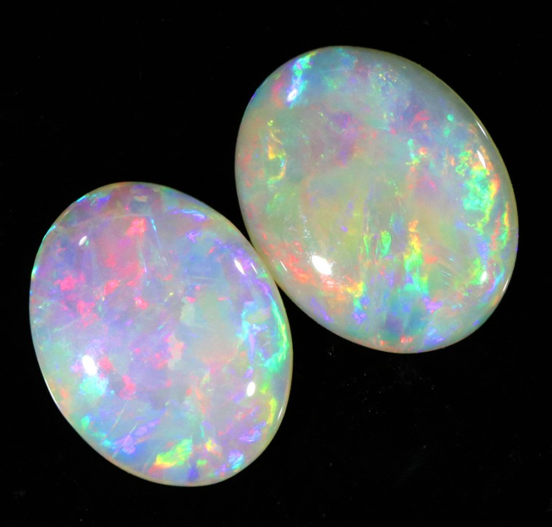 2.60Cts Solid fire opal Coober pedy Pair opals SU1379