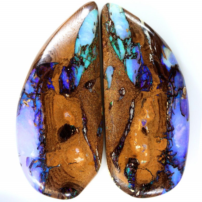 91.00 CTS OPALIZED WOOD FOSSIL PAIR OF STONES NATURAL C154