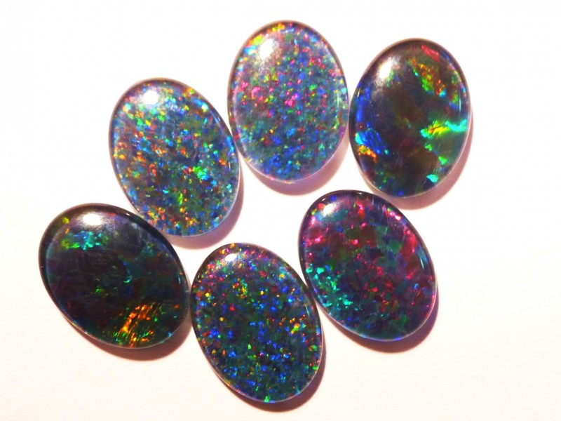Parcel of 6 Australian Opal Triplets B+ Grade 16x12mm Multicolours (3171)
