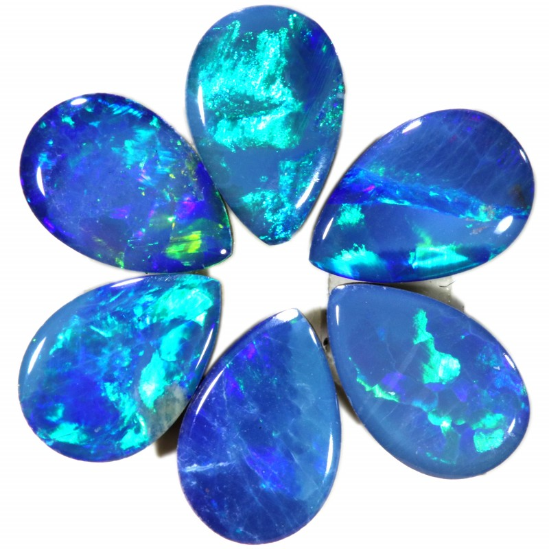 1.68CTS  6 OPAL DOUBLET PARCEL DEAL GREAT COLOUR PLAY-A2