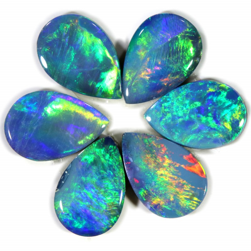 1.36 CTS  6 OPAL DOUBLET PARCEL DEAL GREAT COLOUR PLAY-A3