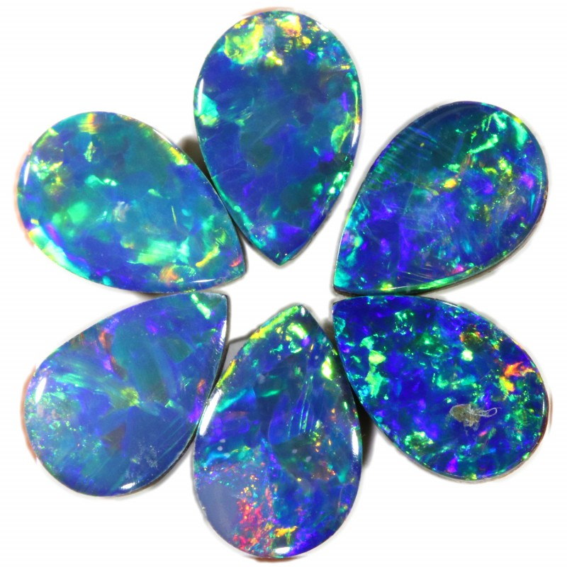 1.37 CTS  6 OPAL DOUBLET PARCEL DEAL GREAT COLOUR PLAY-A15
