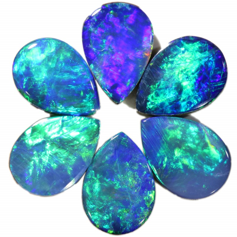 2.52 CTS  6 OPAL DOUBLET PARCEL DEAL GREAT COLOUR PLAY-A17