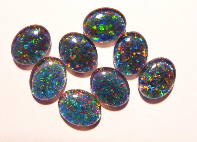 Parcel of 8 Australian Opal Triplets B+ Grade 10x8mm Multicolours (3188)