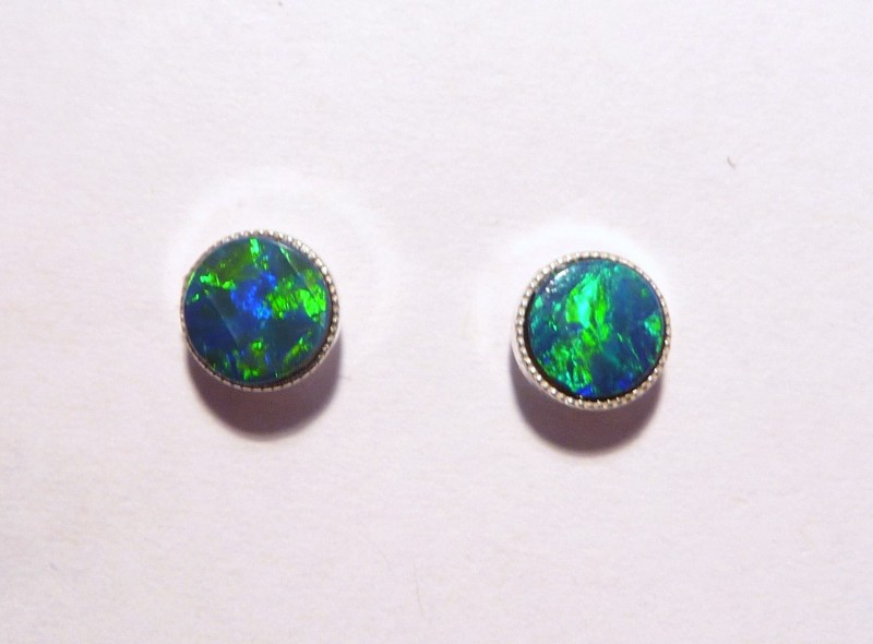 Pretty Australian Opal and Sterling Silver Earrings (3206)