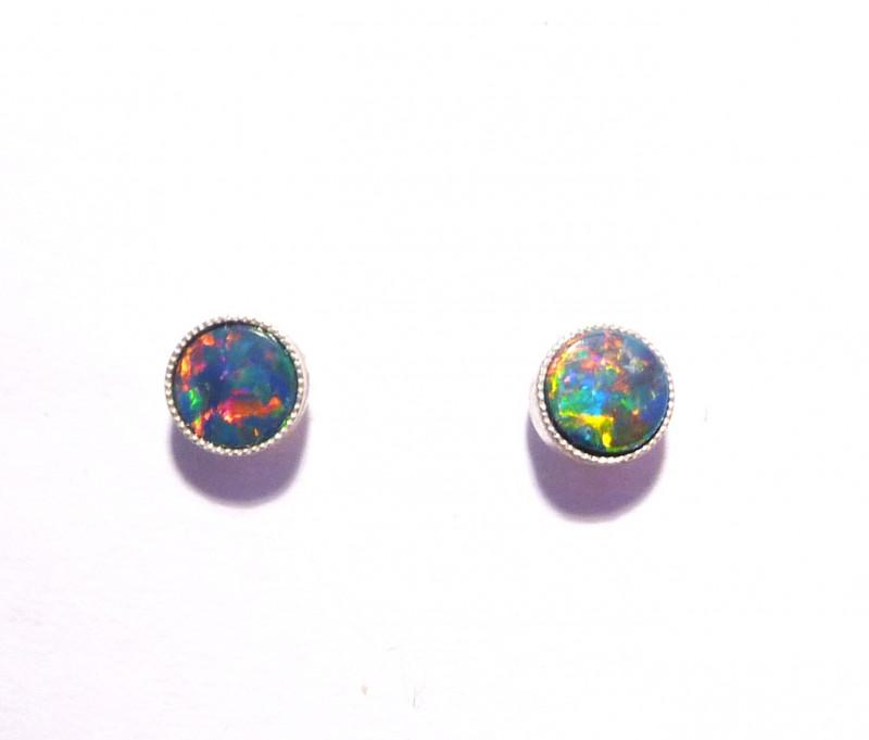 Pretty Australian Opal and Sterling Silver Earrings