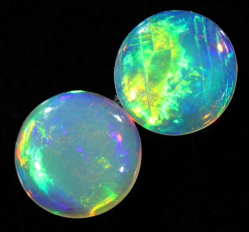 0.97CTS Pair COOBER PEDY OPAL PARCELS GREAT COLOUR PLAY   S350