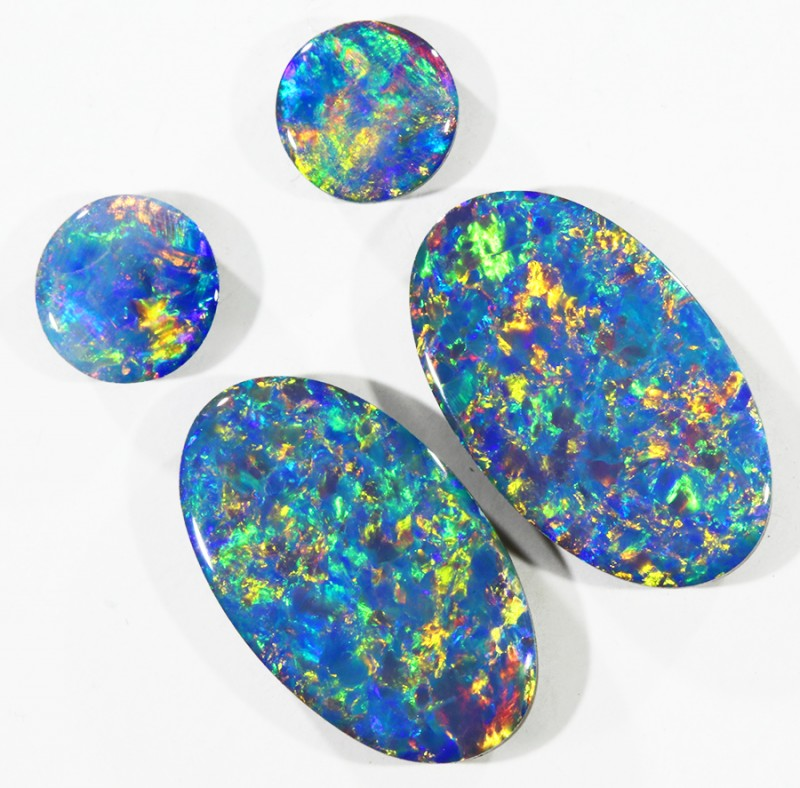 3.69CTS Set 4 COOBER PEDY OPAL DOUBLETS PARCELS GREAT COLOUR PLAY   S371