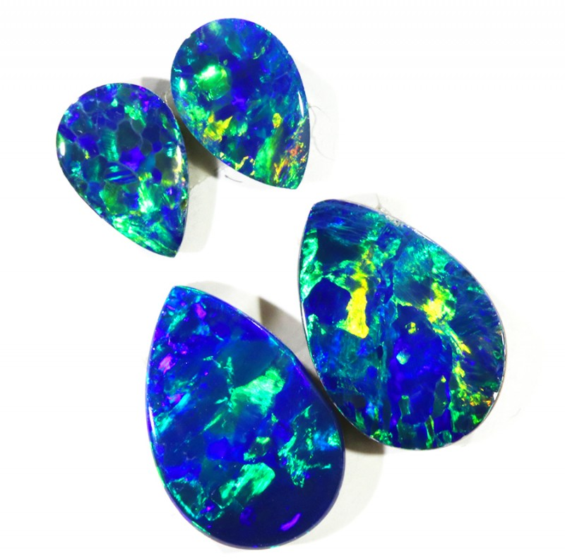 2.25CTS Set 4 COOBER PEDY OPAL DOUBLETS PARCELS GREAT COLOUR PLAY   S373