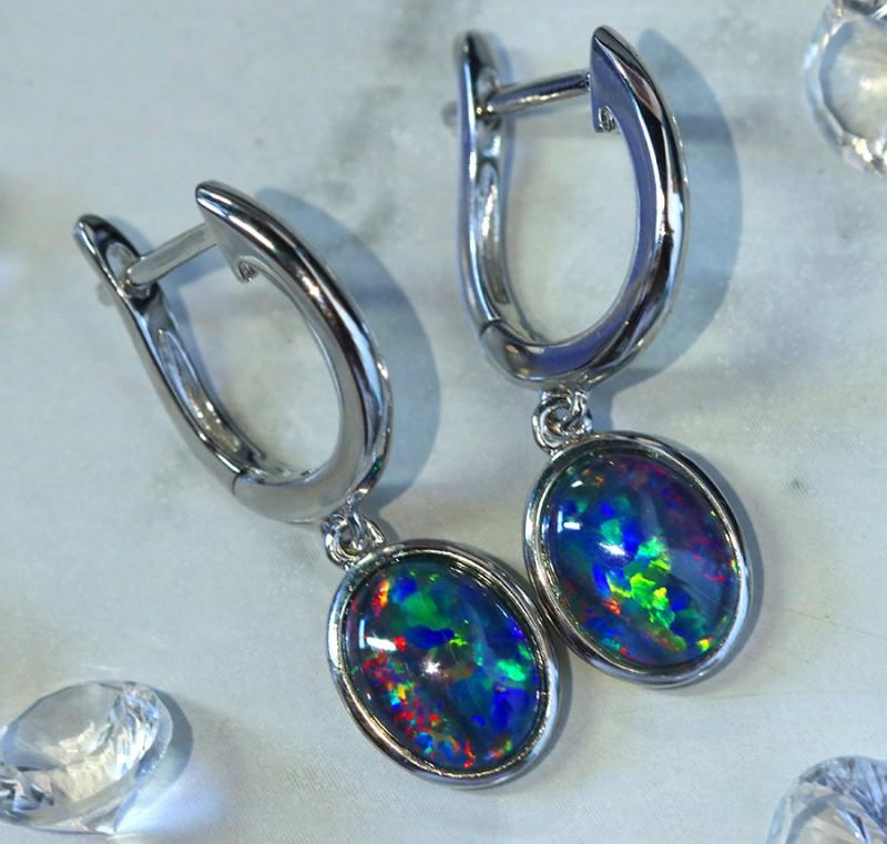 Multi fire  triplet opals in stylish clip  silver earrings SU 1486